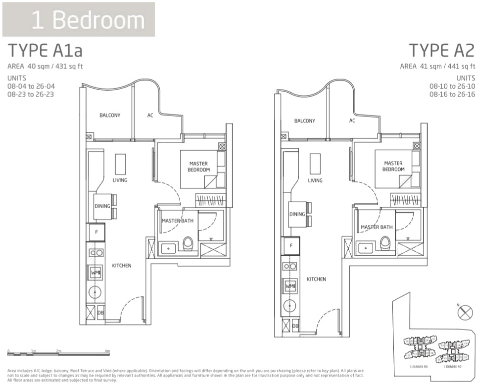 Queens Peak Floor Plan 1 Bedroom Types A1 A2