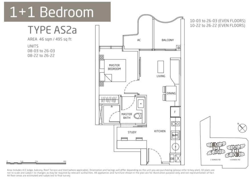 Queens Peak Floor Plans 1 + Study Type AS2a