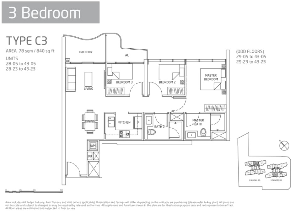 Queens Peak Condo Floor Plans 3 Bedroom Type C3