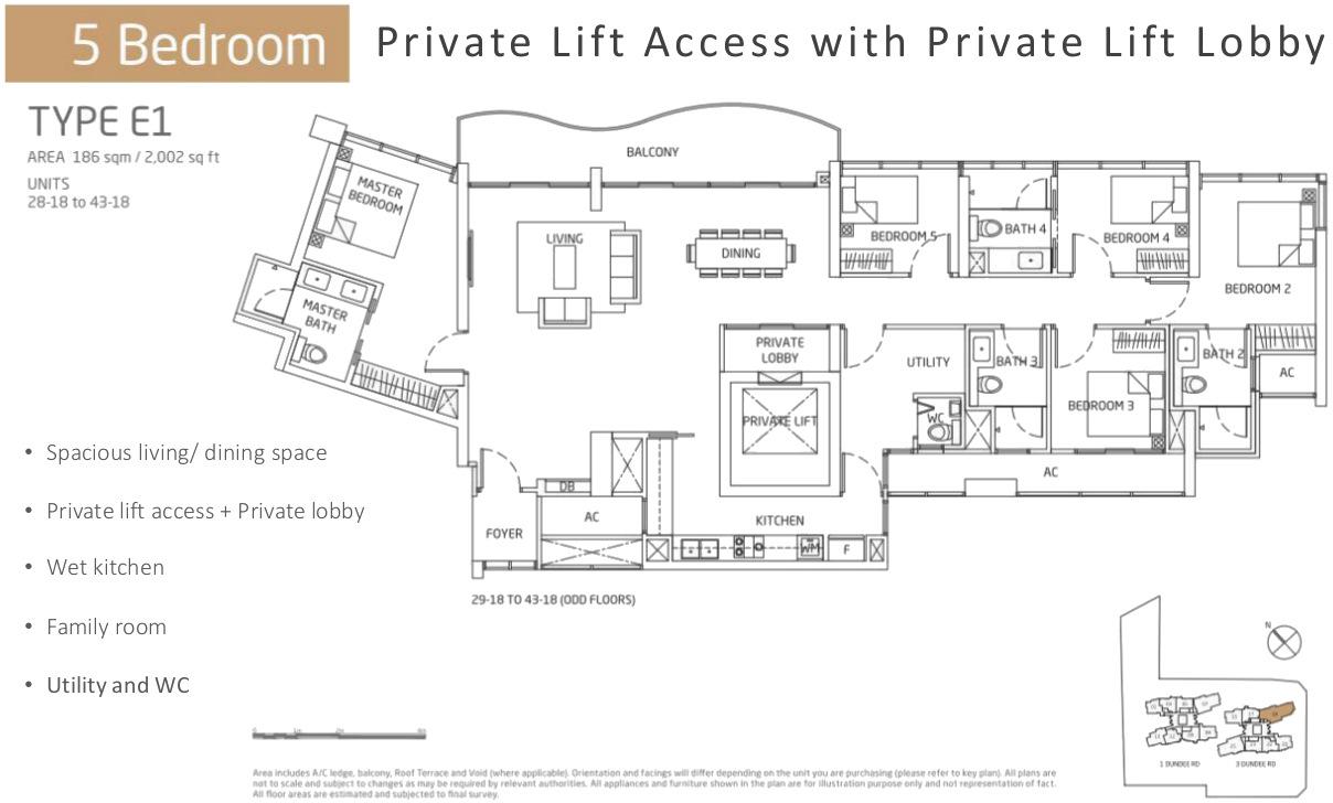 Queens Peak Floor Plans 5 Bedrooms Type E1