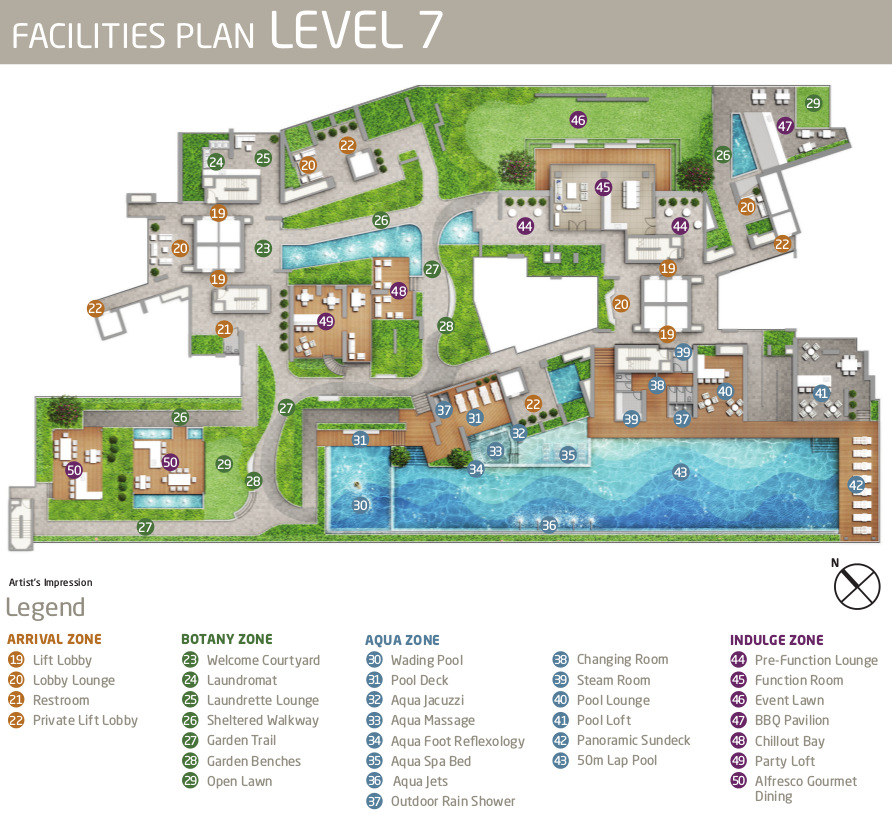 Queens Peak Condo Site Plan Layout . Sky Terrace at Level 7